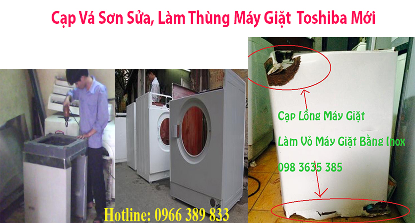 cap va son sua lam long may giat  toshiba moi